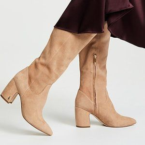 SAM EDELMAN Tan Suede Leather Tall High Heel Boots